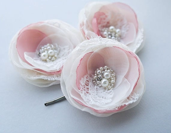 RESERVED FOR STACY  Hair Accessories Ivory and Dusty Rose Hair Flowers (4 pcs) Small Lace Flower Clips Bridesmaids Pearls Rhinestones