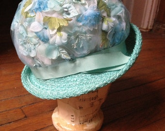 Light Turquoise Floral Hat