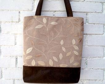 Vegan Tote bag, embroidery linen  and faux brown suede,golden leaves, shoulder bag. Handmade.