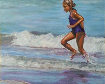 """Original Oil Painting: graceful young girl at the beach """"Running In"""""""