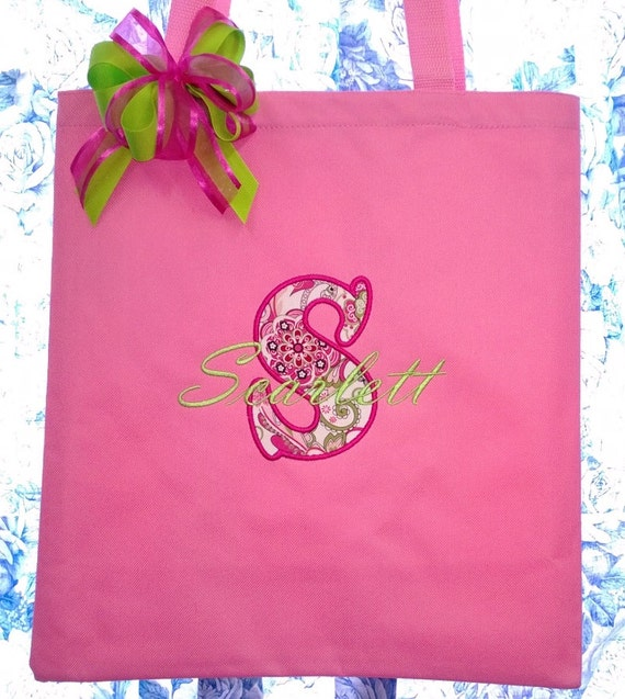 Personalized Flower Girl Tote Bag with Fabric Applique