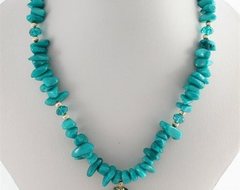 Handmade Lampwork Bead Necklace - Turquoise Gold - SRAJD