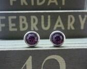 Silver Birthstone Ear Studs - February Solid Sterling Silver 925 Amethyst Purple Violet Swarovski Crystal Earrings