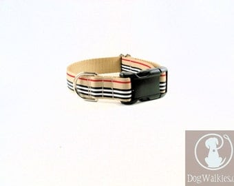 """Charleston Blvd Stripes Dog Collar / 1"""" (25 mm) Wide / Tan Red Black White Stripes / Choice of style and size / Martingale or Quick Release"""