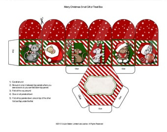 Digital Christmas Box Cat and Mouse Theme