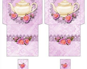 Digital Tea Bag Envelope Lavender