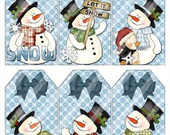 Digital Holiday Snowman Gift Tags