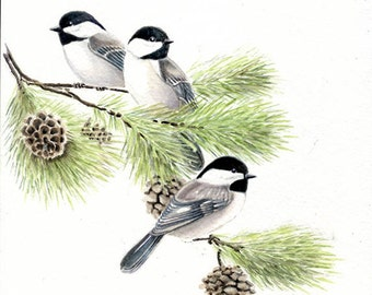 Chickadees, original watercolor painting, 8x8, birds, art & collectibles, home decor, wall art, home and living, earthspalette