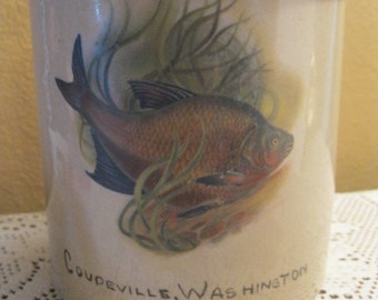Souvenir Crock of Coupeville, WA, with fish.