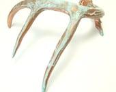 Deer Antler Copper Patina Art Sculpture