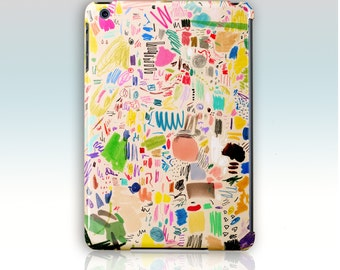 """iPad Mini Case. Mia Christopher """"Scribbles"""", mixed media. Pink, green and pastels"""