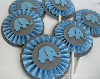 Blue and Gray Baby Elephant Rosettes Cupcake Toppers- Elephant Baby Shower Decorations..Set of 12