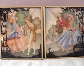 Pair of Silhouette Pictures on Convex Glass, Antique Reverse Paintings of Courting Couples, Color Silhouette Pictures