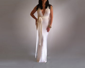Wedding Maxi Boho Wrap Dress Convertible Infinity Made To Measure Bride Featuring Train Maxi Wedding Gown Custom Order to your size