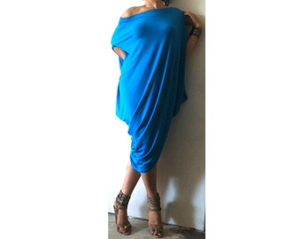Asymmetric Off Shoulders Dress Plus Size DrapeDress Loose Caftan Dress XXL XXXL Drap Tunic Azure Blue Jersey Dress Asymmetric Kaftan