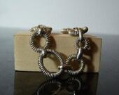 SALE Vintage Silver Bracelet with Spring Links