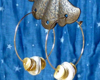Hand-bent gold-filled hoops with curved disc beads