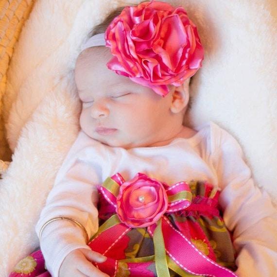 Big Ruffled Flower Headband, baby, girls, teen, adult, MULTIPLE COLORS
