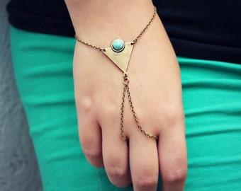triangle turquoise slave bracelet, geometric bracelet, bracelet ring, ring bracelet, turquoise bracelet