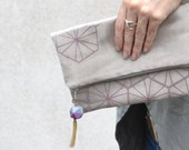 Grey Vegan Suede Fold Clutch - Lavender Honeycomb Pattern and Hedron Tassel