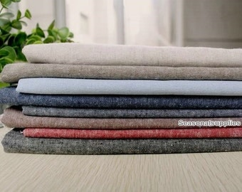 Yarn-dyed, Flax Linen Fabric/ Pure Linen/ Natural Fabric/ Vintage Look/ Curtain Bag Fabric/ Native Cotton Linen- half yard 140x 45cm (QT193)