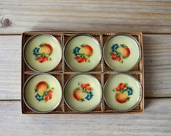 Harvest table retro vintage coaster set / cottage chic mid century style / farm house style fruit decor / country home style cabin decor