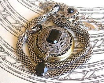 Gothic Steampunk Pocket Watch Necklace Pocket Watch Pendant  Swarovski  Watch Necklace Unique Womens Watches  Vintage Style Locket Jewelry