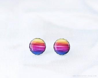 Neon rainbow stud earrings, rainbow jewelry, colorful earrings, multicolor earrings, summer jewelry