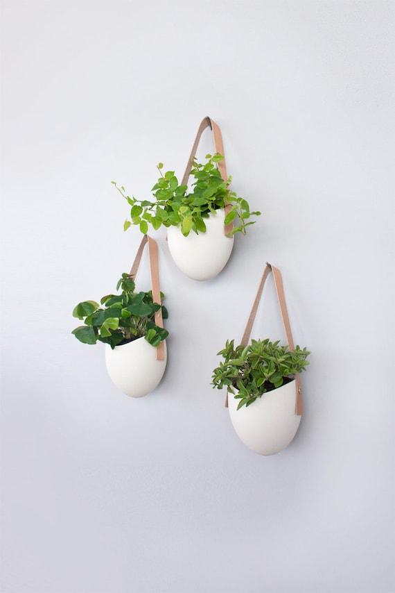Set Of 3 Porcelain Leather Hanging Planters
