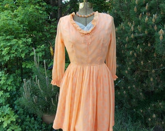 Vintage 60's Peach Polka Dot Party Dress . Tangerine Crepe Chiffon . MODE O' DAY Styled in California label . Mad Men Office Girl Flirty
