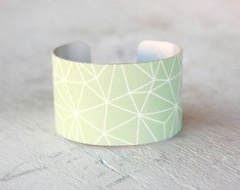 Geometric Cuff Bracelet - Mint Cuff Bracelet - Large Metal Cuff - Aluminum Cuff - Large Cuff Bracelet (260)