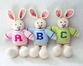 Easter Gift - Hand Knitted Rabbit - Personalized Kids Knit Bunny Pink, Blue or Green Sweater - Hand Knit Stuffed Animal - Personalized Toy