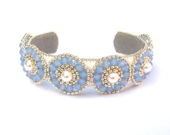 Bracelet, Beaded Blue Opal Swarovski Crystal & Pearl Beaded Cuff, Statement Bracelet, Something Blue, Hand beaded Bangle, Blue Opal Crystal
