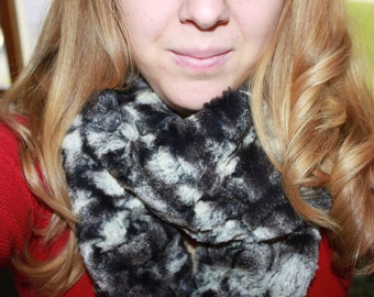 Infinity Scarf - Handmade- Black and White Minky-  Loop Scarf -  Minky- Cozy Super Soft Scarf-