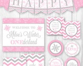 Winter ONEderland Birthday Party Package - Pink & Gray Snowflake. DIY Printable Winter Birthday Party Decorations.