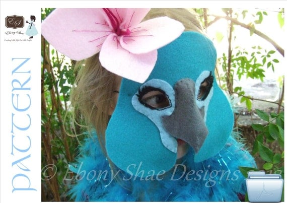 Blue Macaw mask PATTERN.  Digital Sewing Pattern- Kids Blue Macaw Costume