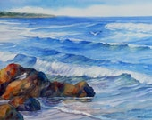 Marginal Way Original Painting Maine Coast at Ogunquit 20x24 Inch Framed Seascape Watercolor by Janet Zeh