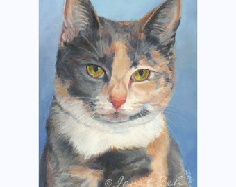 5x7 Custom Cat Portrait from Photos Watercolor or Oil Pet Painting by Janet Zeh