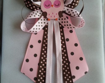 Pink and brown OWL baby shower pin/corsage
