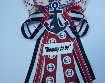 Nautical, anchor baby shower pin/corsage