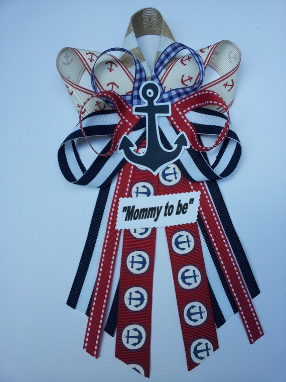 nautical anchor baby shower pin corsage
