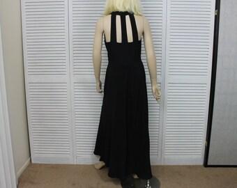 Vintage Karen Alexander Long Black Evening Dress Size 4 with Wrap