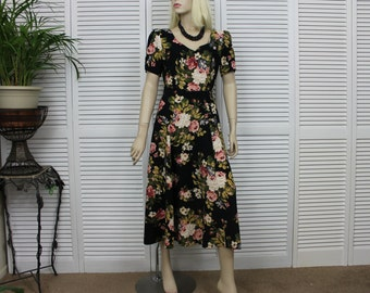 Vintage Black Floral Day Dress Long  Size 7 Pink Roses