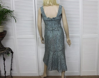 Vintage 1950s Two Piece Gray Lace Dress and Jacket Fish Tail Dress