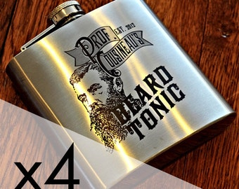 4 Stainless Steel Engraved Flask, Tonic Label