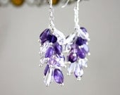 Amethyst and Crystal Dangle Earrings