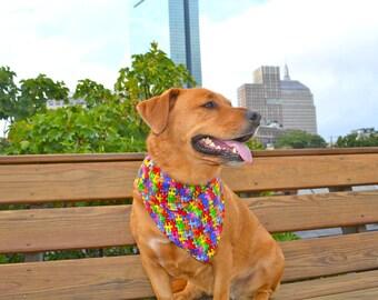 No tie dog bandana - Autism awareness - Puzzle pieces - Goes over collar  - Small Medium Large