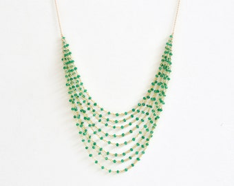 Green Onyx Necklace- Statement Necklace- Kelly Green Necklace- Green and Gold Necklace- Gold filled Necklace- Beaded Necklace- Bright Green