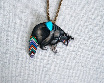Chevron Raccoon Necklace / Chevron Animal / Striped / Woodland / Southwestern / Shrink Plastic Jewelry