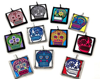 Necklace - Day of the Dead Sugar Skull Inchies